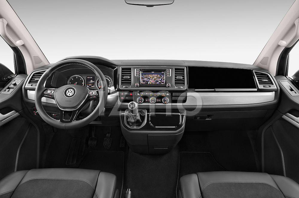 Stock photo of straight dashboard view of 2016 Volkswagen Multivan Comfortline BMT 5 Door Passenger Van Dashboard