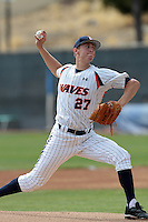 Jon Moscot #27 of the Pepperdine Waves pitches against the Texas A&M Aggies at Eddy D. Field Stadium on March 23, 2012 in Malibu,California. Texas A&M defeated Pepperdine 4-0.(Larry Goren/Four Seam Images)
