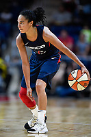 Washington, DC - July 30, 2019: Washington Mystics guard Kristi Toliver (20) dribbles the ball up court during game between the Phoenix Mercury and the Washington Mystics at the Entertainment & Sports Arena in Washington, DC. The Mystics defeated the Mercury 99-93. (Photo by Phil Peters/Media Images International)