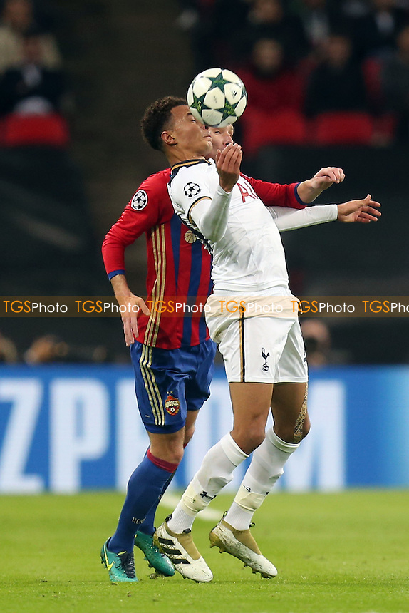 Kirill Nababkin of CSKA Moscow and Dele Alli of Tottenham Hotspur during Tottenham Hotspur vs CSKA Moscow, UEFA Champions League Football at Wembley Stadium on 7th December 2016