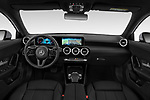 Stock photo of straight dashboard view of 2019 Mercedes Benz A-Class Progressive 5 Door Hatchback Dashboard