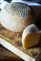 Detail of the traditional cheese from the Gran Sasso National Park sold in one of the local shops in Santo Stefano di Sessanio