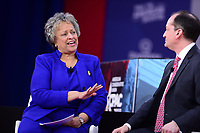 National Harbor, MD - February 22, 2018: Heritage Foundation president Kay Coles James interviews U.S. Labor Secretary Alex Acosta during the Conservative Political Action Conference (CPAC) at the Gaylord National Hotel in National Harbor, MD, February 22, 2018  (Photo by Don Baxter/Media Images International)