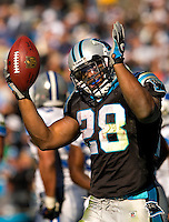 Carolina Panthers running back Jonathan Stewart (28) celebrates against the Detroit Lions during an NFL football game at Bank of America Stadium in Charlotte, NC.