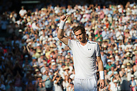 Andy Murray (1) of Great Britain celebrates his victory against Dustin Brown of Germany in their Men's Singles Second Round Match today - Murray def Brown 6-3, 6-2, 6-2<br /> <br /> Photographer Ashley Western/CameraSport<br /> <br /> Wimbledon Lawn Tennis Championships - Day 3 - Wednesday 5th July 2017 -  All England Lawn Tennis and Croquet Club - Wimbledon - London - England<br /> <br /> World Copyright &not;&copy; 2017 CameraSport. All rights reserved. 43 Linden Ave. Countesthorpe. Leicester. England. LE8 5PG - Tel: +44 (0) 116 277 4147 - admin@camerasport.com - www.camerasport.com