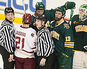 Nicholas Briganti, Matthew Gaudreau (BC - 21), Kevin Briganti, Ori Abramson (UVM - 27), Liam Coughlin (UVM - 13), Stefanos Lekkas (UVM - 40) - The visiting University of Vermont Catamounts tied the Boston College Eagles 2-2 on Saturday, February 18, 2017, Boston College's senior night at Kelley Rink in Conte Forum in Chestnut Hill, Massachusetts.Vermont and BC tied 2-2 on Saturday, February 18, 2017, Boston College's senior night at Kelley Rink in Conte Forum in Chestnut Hill, Massachusetts.