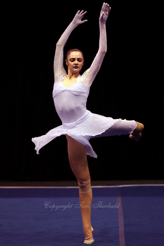 Anna Bessonova of Ukraine turns pirouette handsfree during gala exhibition at San Francisco Invitational on February 11, 2006. Bessonova won All-Around competition. (Photo by Tom Theobald)