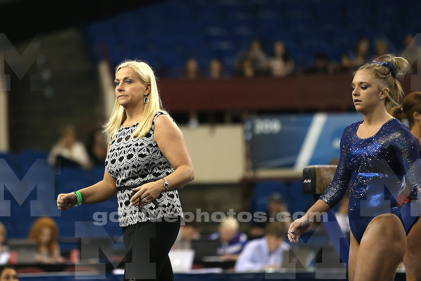 The University of Michigan women's gymnastics team compete at the 2015 NCAA National Championship at the Fort Worth Convention Center, Fort Worth, TX. April 17-19, 2015