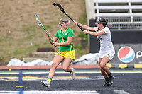 Towson, MD - March 25, 2017: Oregon Ducks Julia Bolte (1) looks to pass the ball during game between Towson and Oregon at  Minnegan Field at Johnny Unitas Stadium  in Towson, MD. March 25, 2017.  (Photo by Elliott Brown/Media Images International)