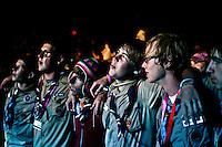 American boyscouts are enjoying the final show. Photo: Fredrik Sahlström/Scouterna