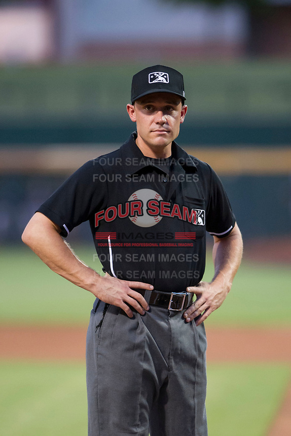 Minor league baseball umpire Bobby Tassone before a game between the AZL Padres 2 and the AZL Cubs on August 28, 2017 at Sloan Park in Mesa, Arizona. AZL Cubs defeated the AZL Padres 2 9-4. (Zachary Lucy/Four Seam Images)