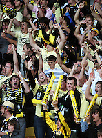 Phoenix fans celebrate Leo Bertos' opener during the A-League match between Wellington Phoenix and Newcastle Jets at Westpac Stadium, Wellington, New Zealand on Sunday, 4 January 2009. Photo: Dave Lintott / lintottphoto.co.nz
