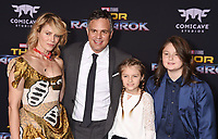 LOS ANGELES, CA - OCTOBER 10: Actor Mark Ruffalo (2nd from L) and family arrive at the premiere of Disney and Marvel's 'Thor: Ragnarok' at the El Capitan Theatre on October 10, 2017 in Los Angeles, California.<br /> CAP/ROT/TM<br /> &copy;TM/ROT/Capital Pictures