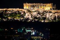 Athens, Greece. Acropolis at night.