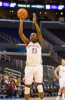 LOS ANGELES, CA - March 10, 2012: Forward Chiney Ogwumike (13) of the Stanford University woman's basketball team competes against Cal during the PAC 12 Woman's Basketball Championship Game at the Staples Center in Los Angeles California. Final score Stanford won 77-62.