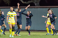 Stanford, CA - November 12, 2015: Averie Collins Michelle Xiao during the Stanford vs Cal Men's soccer match in Stanford, California.  The Cardinal defeated the Bears 1-0.