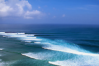 G-Land, Java, Indonesia. An arial view of the line up  during the running of the 1996 Quiksilver G-Land Pro. The contest was won by Shane Beschen (HAW) with Gary  Elkerton (AUS) in second place..Photo: joliphotos.com