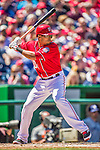 27 April 2014: Washington Nationals shortstop Ian Desmond in action against the San Diego Padres at Nationals Park in Washington, DC. The Padres defeated the Nationals 4-2 to to split their 4-game series. Mandatory Credit: Ed Wolfstein Photo *** RAW (NEF) Image File Available ***