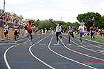 28 MAY 2016: Anthony Simpson of Wesley crosses the finish line of the men's 100 meter race during the Division III Men's and Women's Outdoor Track & Field Championship held at Walston Hoover Stadium on the Wartburg College campus in Waverly, IA. Simpson won the race with a time of 10.68. Conrad Schmidt/NCAA Photos