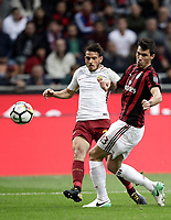 Calcio, Serie A: Milano, stadio Giuseppe Meazza (San Siro), 1 ottobre 2017.<br /> Milan's Alessio Romagnoli (r) in action with Roma's Alessandro Florenzi (l) during the Italian Serie A football match between Milan and AS Roma at Milan's Giuseppe Meazza (San Siro) stadium, October 1, 2017.<br /> UPDATE IMAGES PRESS/IsabellaBonotto