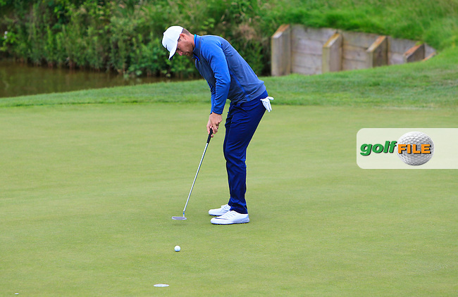 Lucas Bjerregaard (DEN) on the 1st green during Round 2 of the 100th Open de France, played at Le Golf National, Guyancourt, Paris, France. 01/07/2016. <br /> Picture: Thos Caffrey | Golffile<br /> <br /> All photos usage must carry mandatory copyright credit   (&copy; Golffile | Thos Caffrey)