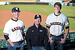 Blake Templeton, Coach Paul Cochran, Conor Murphy represented Rouse High School at Media Day at the Dell Diamond.  (LOURDES M SHOAF for Round Rock Leader - lulyphoto.com)