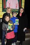 """Joe West, son of Maura West - As The World Turns' """"Carly"""" and Young and Restless, makes his Broadway Debut as """"Ralphie"""" in A Christmas Story The Musical and poses with his mom Maura, sister Kate and Martha Byrne  on December 19, 2012 at the Lunt-Fontanne Theatre, New York City, New York. (Photo by Sue Coflin/Max Photos)"""
