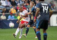 CHESTER, PA - OCTOBER 27, 2012:  Brian Carroll (7) of the Philadelphia Union tries to stop a pass by  Thierry Henry (14)  of the New York Red Bulls during an MLS match at PPL Park in Chester, PA. on October 27. Red Bulls won 3-0.