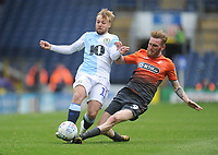 Blackburn Rovers' Harry Chapman is tackled by Swansea City's Oli McBurnie<br /> <br /> Photographer Kevin Barnes/CameraSport<br /> <br /> The EFL Sky Bet Championship - Blackburn Rovers v Swansea City - Sunday 5th May 2019 - Ewood Park - Blackburn<br /> <br /> World Copyright © 2019 CameraSport. All rights reserved. 43 Linden Ave. Countesthorpe. Leicester. England. LE8 5PG - Tel: +44 (0) 116 277 4147 - admin@camerasport.com - www.camerasport.com