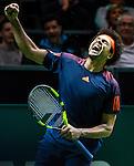 ROTTERDAM -   Jo-Wilfried Tsonga (FRA) wint de partij in de kwartfinale van het ABN AMRO-tennistoernooi in Rotterdam Ahoy , van de Kroaat Marin Cilic  (7/6,7/6).   ANP KOEN SUYK
