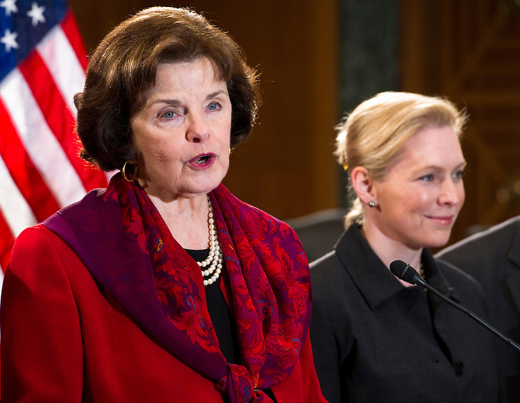 WASHINGTON, DC - March 16: Sen. Dianne Feinstein, D-Calif., and Sen. Kirsten Gillibrand, D-N.Y., during a news conference on the bill the senators are sponsoring that would repeal the Defense of Marriage Act (DOMA). (Photo by Scott J. Ferrell/Congressional Quarterly)