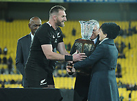 Dame Patsy Reddy hands the Freedom Cup trophy to Kieran Read after the Rugby Championship rugby union match between the New Zealand All Blacks and South Africa Springboks at Westpac Stadium in Wellington, New Zealand on Saturday, 27 July 2019. Photo: Mike Moran / lintottphoto.co.nz