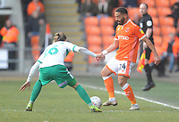 Blackpool's Liam Feeney under pressure from Plymouth Argyle's Oscar Threlkeld<br /> <br /> Photographer Kevin Barnes/CameraSport<br /> <br /> The EFL Sky Bet League One - Blackpool v Plymouth Argyle - Saturday 30th March 2019 - Bloomfield Road - Blackpool<br /> <br /> World Copyright © 2019 CameraSport. All rights reserved. 43 Linden Ave. Countesthorpe. Leicester. England. LE8 5PG - Tel: +44 (0) 116 277 4147 - admin@camerasport.com - www.camerasport.com