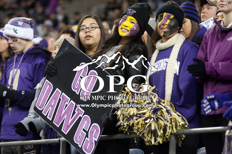 NOV 10, 2012: Washington fans showed their team spirit through out the game against Utah.  Washington won 34-15 over Utah at CenturyLink Field in Seattle, WA...