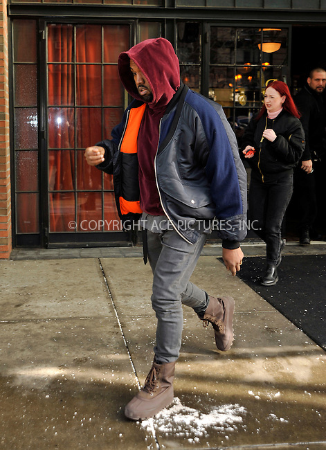 WWW.ACEPIXS.COM<br /> <br /> February 17, 2015 New York City<br /> <br /> Kanye West leaves a downtown hotel on February 17 2015 in New York City<br /> <br /> <br /> Please byline: Curtis Means/ACE Pictures<br /> <br /> ACE Pictures, Inc.<br /> www.acepixs.com, Email: info@acepixs.com<br /> Tel: 646 769 0430