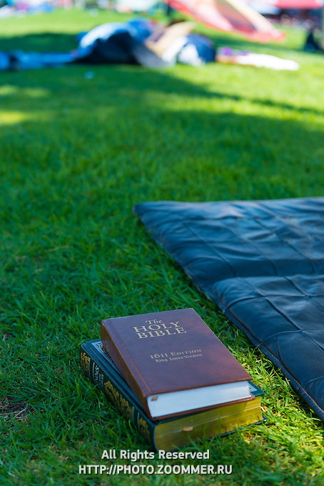 Holy Bible on a grass in Venice beach, LA