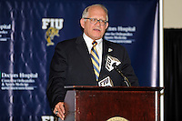 4 May 2012:  FIU President Mark Rosenberg speaks at a press conference during which the FIU Golden Panthers, currently a member of the Sun Belt Conference, formally announced their acceptance of an invitation to join Conference USA for all sports starting July 1, 2013, at the FIU Stadium Club in Miami, Florida.