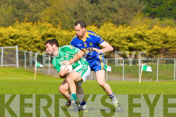 Spa's Andrew Garnett  tackles Milltown Jerimiah Hayes during their County League Division 1 match in Milltown on Saturday
