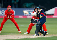 Sean Dickson hits out for Kent during the T20 Quarter-Final game between Kent Spitfires and Lancashire Lightning at the St Lawrence ground, Canterbury, on Aug 23, 2018.