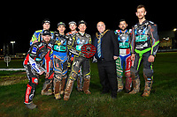 Poole Pirates receive the trophy from The Mayor of Poole during Poole Pirates vs King's Lynn Stars, SGB Premiership Shield Speedway at The Stadium on 11th April 2019