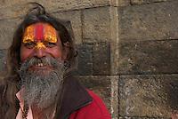 Sadhu at Shambhu Nath Hindu traditional Cremation Area