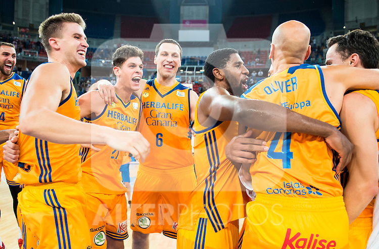Herbalife Gran Canaria's players Pablo Aguilar, Oriol Pauli, Darko Planinic, Bo McCalebb and Albert Oliver celebrating the victory during the final of Supercopa of Liga Endesa Madrid. September 24, Spain. 2016. (ALTERPHOTOS/BorjaB.Hojas)