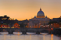 The Basilica of Saint Peter at sunset, Rome, Italy
