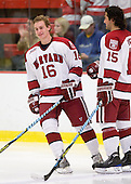 Alex Fallstrom (Harvard - 16), Doug Rogers (Harvard - 15) - The Boston University Terriers defeated the Harvard University Crimson 6-5 in overtime on Tuesday, November 24, 2009, at Bright Hockey Center in Cambridge, Massachusetts.