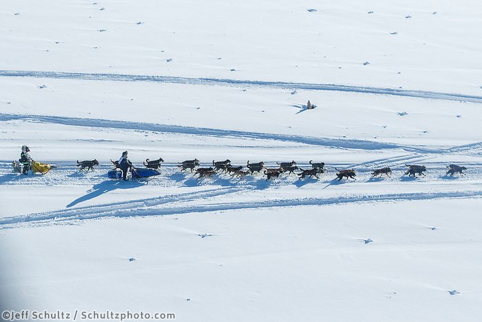 A team is passed as they run on the trail along the Tanana river between Fairbanks and Nenana during the 2017 Iditarod on Monday March 6, 2017.<br /> <br /> Photo by Jeff Schultz/SchultzPhoto.com  (C) 2017  ALL RIGHTS RESVERVED
