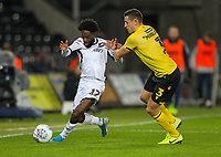 23rd November 2019; Liberty Stadium, Swansea, Glamorgan, Wales; English Football League Championship, Swansea City versus Millwall; Nathan Dyer of Swansea City and Murray Wallace of Millwall jostle for the ball - Strictly Editorial Use Only. No use with unauthorized audio, video, data, fixture lists, club/league logos or 'live' services. Online in-match use limited to 120 images, no video emulation. No use in betting, games or single club/league/player publications