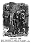"Whitechapel, 1888. First member of ""Criminal Class."" ""Fine body o' men, the per-leece!"" Second ditto. ""Uncommon fine!- It's lucky for hus as there's sech a bloomin' few on 'em!!!"""