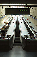 London:  Jubilee Line--Canary Wharf Station--escalators.  Photo 2005.