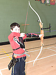 Zac Casey of Ardee Archery Club in action at Ardee Community School. Photo:Colin Bell/pressphotos.ie