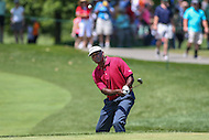 Bethesda, MD - June 25, 2016:  Vijay Singh (FIJ) attempts a chip shot during Round 3 of professional play at the Quicken Loans National Tournament at the Congressional Country Club in Bethesda, MD, June 25, 2016.  (Photo by Elliott Brown/Media Images International)